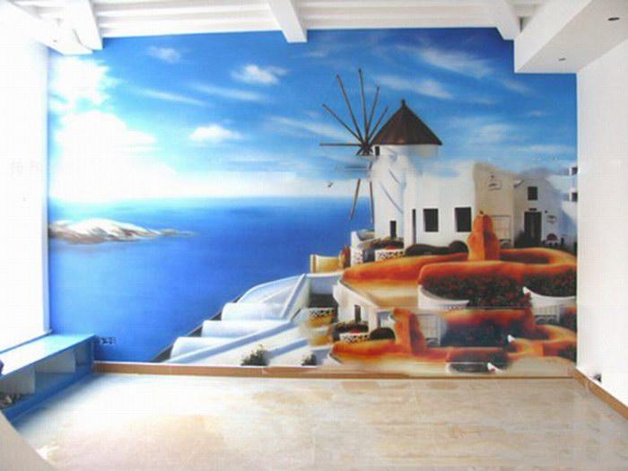 地中海墙绘图片 地中海风景墙绘素材杭州墙绘公司 怡丽墙绘