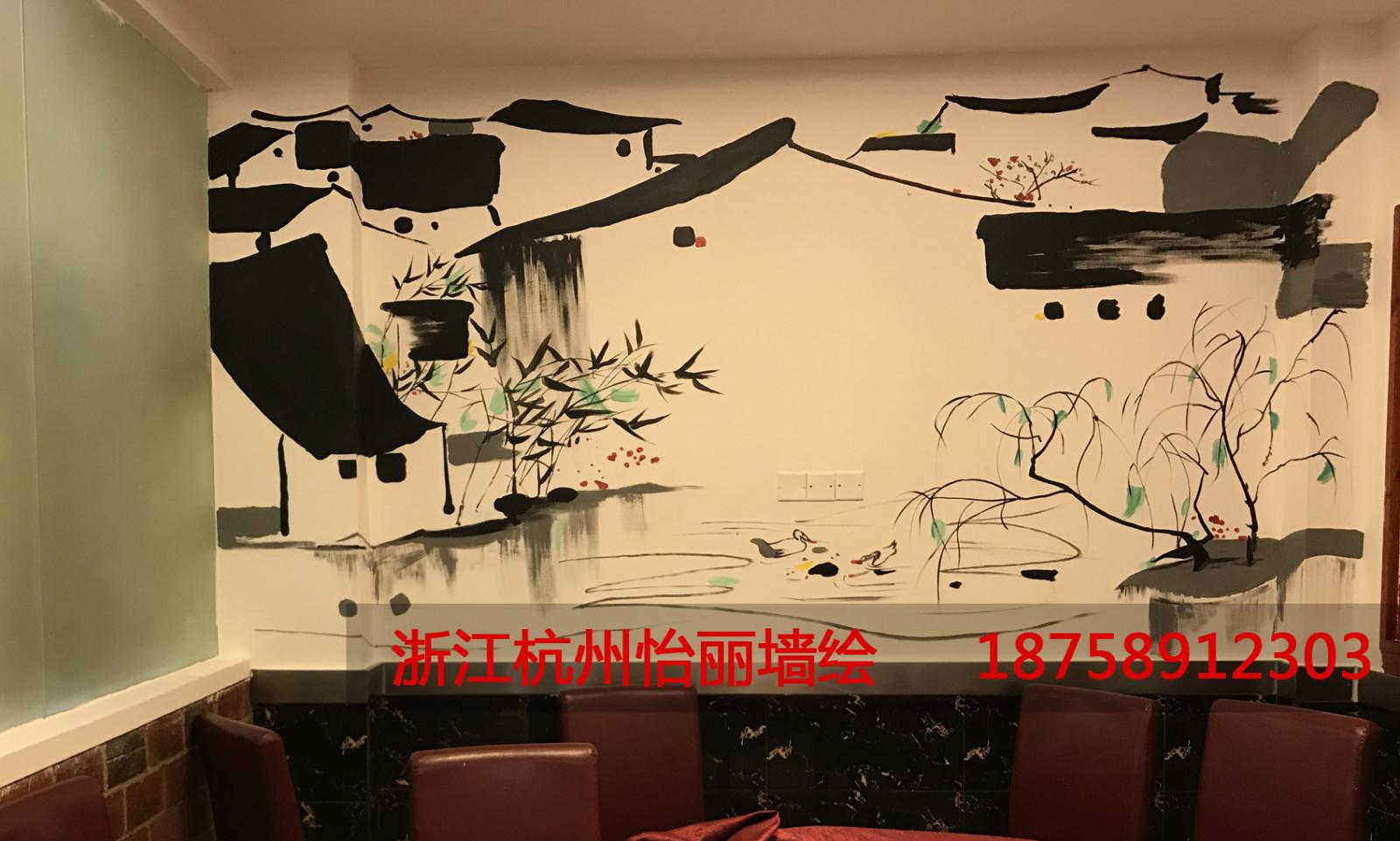 中式餐厅墙绘国画简约.jpg